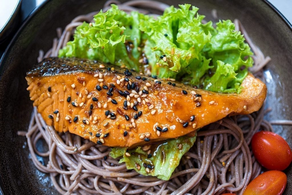 Teriyaki salmon on buckwheat (soba) noodles.